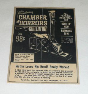 Small 1966 Aurora Model Ad Madame Tussaud Guillotine
