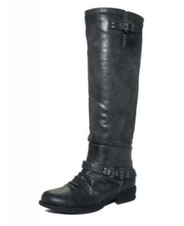 Madden Girl New Zoiiee Black Embellished Block Heel Knee High Boots