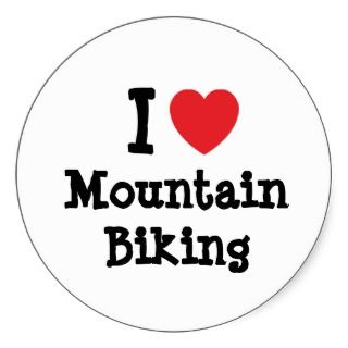 love Mountain Biking heart custom personalized Stickers