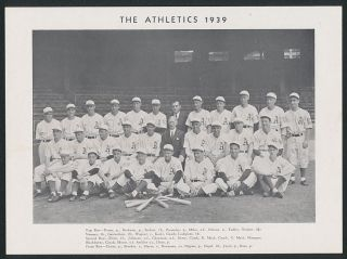 Vintage 1939 Philadelphia Athletics Team 7 x 9 1 2 Glossy Photo