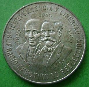 1960 Mexico Silver 10 Pesos Hidalgo Madero Coin