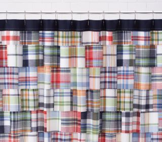 Pottery Barn Kids Madras Plaid Blue Shower Curtain 72 x 72, cotton