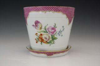 19c German Meissen Porcelain Flower Pot Jardiniere Cache Pot Hand