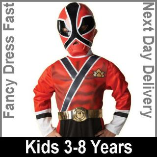 Child Power Rangers Red Samurai Party Outfit Fancy Dress Costume