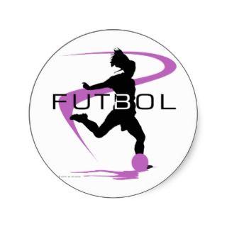 Soccer Futbol   Girls   Pink Round Stickers