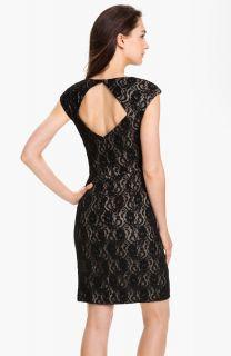 Maggy London Surplice Front Drape Black Lace Sheath Dress Cocktail 16