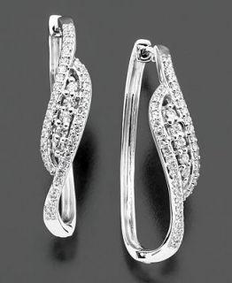 Wrapped in Love™ 14k White Gold Earrings, Diamond Hoop (1/2 ct. t.w