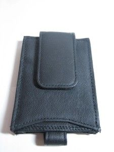 Black Leather Magnetic Money Clip Wallet ID Card Holder
