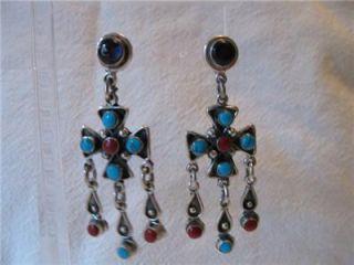 Vtg Huge Earrings Maltese Cross Turquoise Amethyst Coral Mexico TD 102
