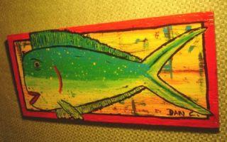 Mahi Mahi Dolphin Fish Original Painting Outsider Folk Naive Pop Raw