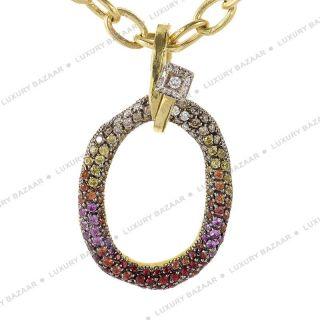 Valente Milano 18K Yellow Gold Multi Sapphire and Diamond Pendant