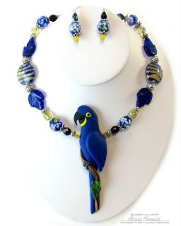 Hyacinth Macaw Blue Parrot Necklace Earring Set by Clay Artist Alicia
