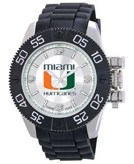 Game Time Watch, Mens University of Miami Black Polyurethane Strap