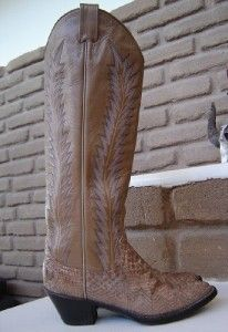 Gorgeous Larry Mahan Snakeskin Tall Womens Cowboy Boots Size 5 5