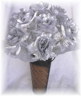 Silver Long Stem Silk Rose Bridal Bouquet Centerpiece Flowers
