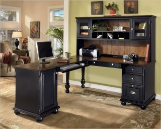 Brush Hollow Black Brown Desk Hutch Home Office Table