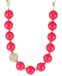 Haskell Necklace, Gold Tone Fuchsia Bead Glass Crystal Fireball
