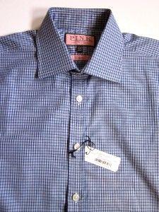 Thomas Pink Classic Blue Mahon Check Dress Shirt 15 5 34
