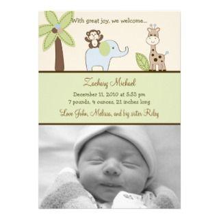 Baby Safari Jungle Animal Birth Announcements invitations by little