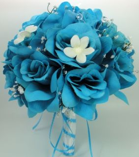 Wedding Bridal Bouquet Turquoise Blue Roses Silk Artificial Flowers 21