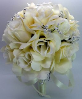 Wedding Bridal Bouquet Cream Ivory Roses Silk Artificial Flowers 21 PC