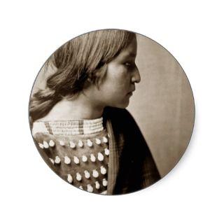 Arikara girl Native American Indian portrait Sticker
