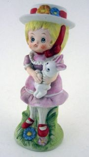 Figurine Statue of LITTLE GIRL IN DRESS & BONNET with Her Bunny