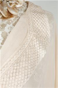 Denmark by Malene Birger Romantic Crochet Flare Silk Blouse Top Pink