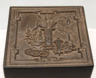Oriental Black Square Box Containing Red Carved Seal Chop Stamp