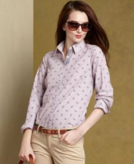 Tommy Hilfiger Shirt, Long Sleeve Printed Button Down