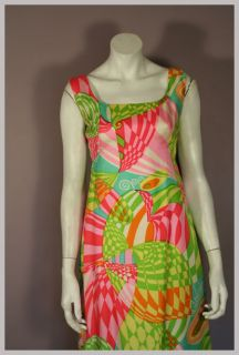 60s 70s Colorful Silk Psychedelic Pattern MALCOLM STARR Maxi Dress M