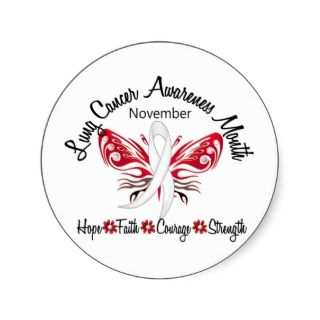 Lung Cancer Awareness Month Butterfly 3.2 Sticker