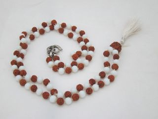 Japamala Rudraksha Combination White Agate Mala Aum 108 1 BDS