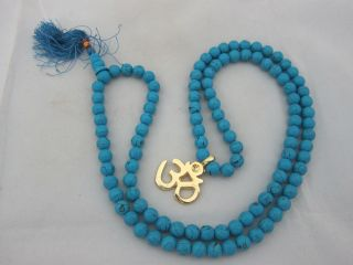 Turquoise Full Mala Yoga Meditation Prayer Japamala 108 1 Guru Bead OM
