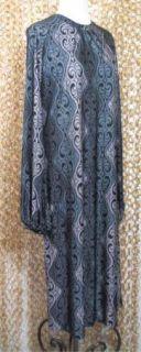 Malene Birger Silky Gray Patterned Long Sleeve Gorgeous Slinky Dress M