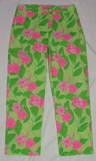 Lilly Pulitzer Mandevilla Green Pink Flower Cropped Pants Womens Size