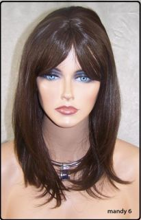 Brown Human Hair Blend Wig Heat OK Iron Safe Skin Top Fringe Bangs