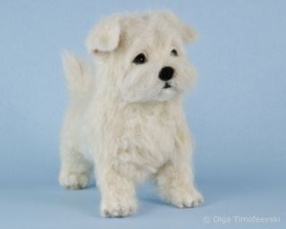 Maltese Puppy Coco Needle Felted OOAK Dog Figurine by Toby Award