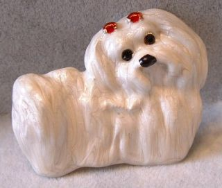 Pearlized Enamel Crystal Purebred Maltese Puppy Dog Pin Brooch