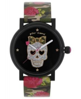 Betsey Johnson Watch, Womens Black Rose Printed Polyurethane Strap