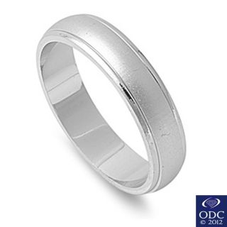 Womens Mens 5mm Brushed Wedding Band 925 Sterling Silver Ring Size 6