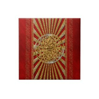 Red gold celtic knot elegant tiles