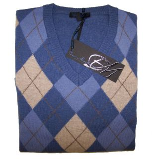 Enzo Mantovani Mens V Neck Argyle Cashmere Sweater Blue