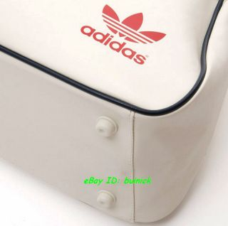 Adidas ADICOLOR Holdall Bag White Red Faux Leather Travel Shoulder