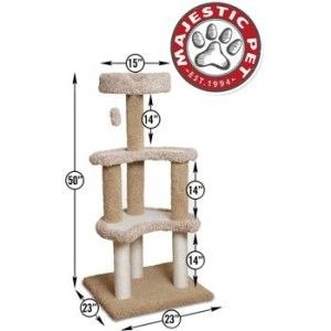 Majestic Pet 50 Cat Tree Deluxe Carpeted Sherpa Moon 3 Sisal