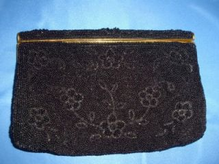 Vintage Majid Black Glass Bead Beaded Gold Evening Bag Purse Clutch