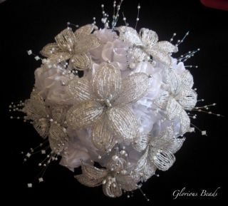Beaded White Silver Crystal Bridal Bouquet Lily Bride