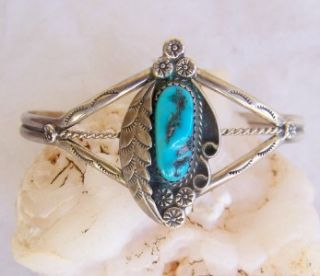 VINTAGE~NAVAJO~J. MANUELITO~STERLING SILVER~SLEEPING BEAUTY TURQUOISE