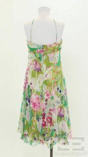 Max Mara Green Pink Printed Silk Sleeveless Dress Size US 10