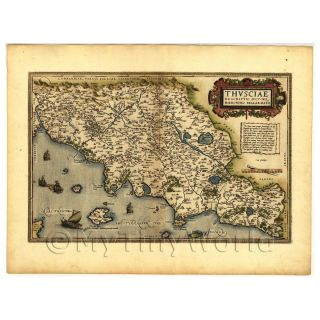 Doll House Old Map of Tcsia Italy from The Late 1500S